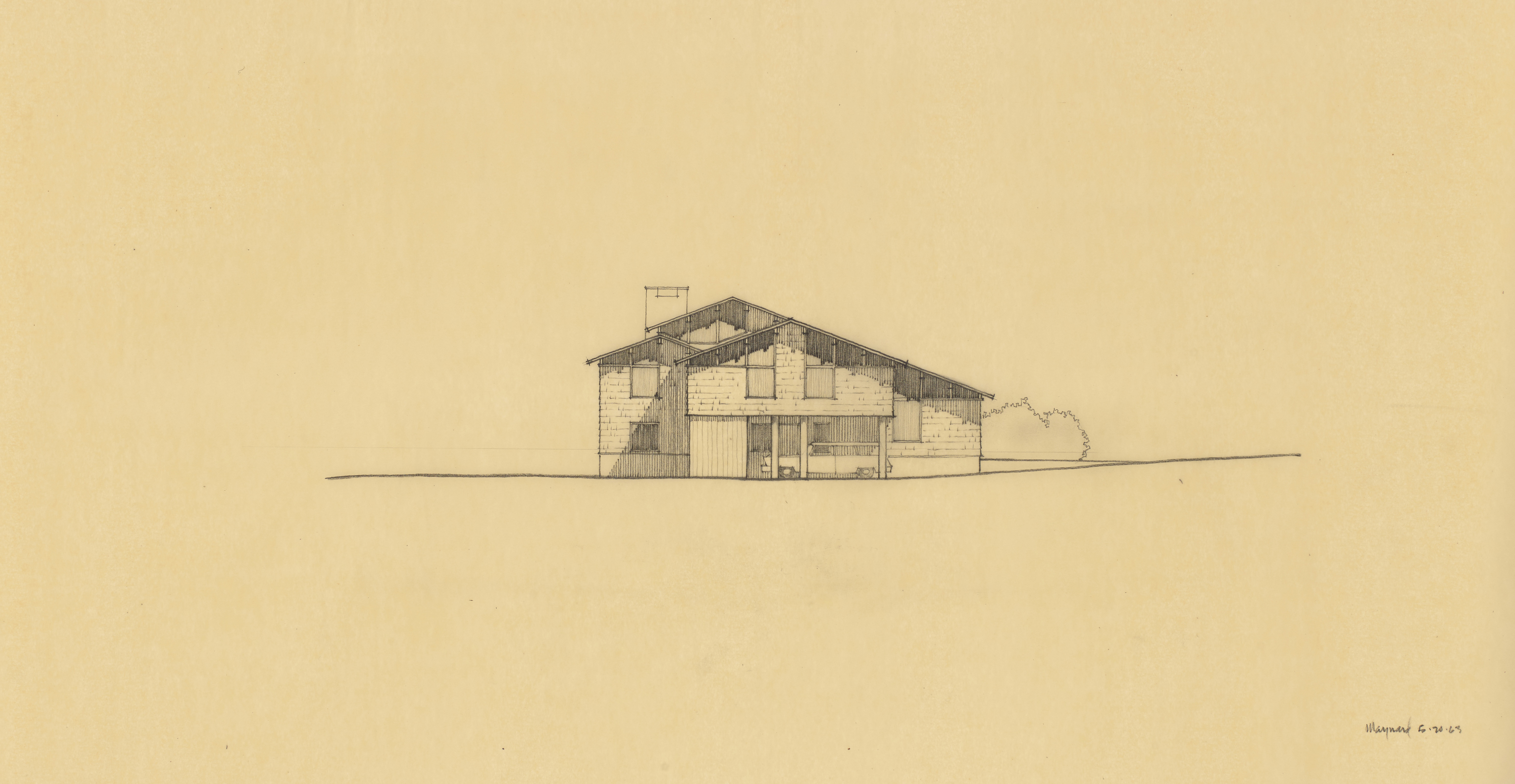 EPM Untitled East Elevation, 1963, graphite on tracing paper, 14 x 24 inches