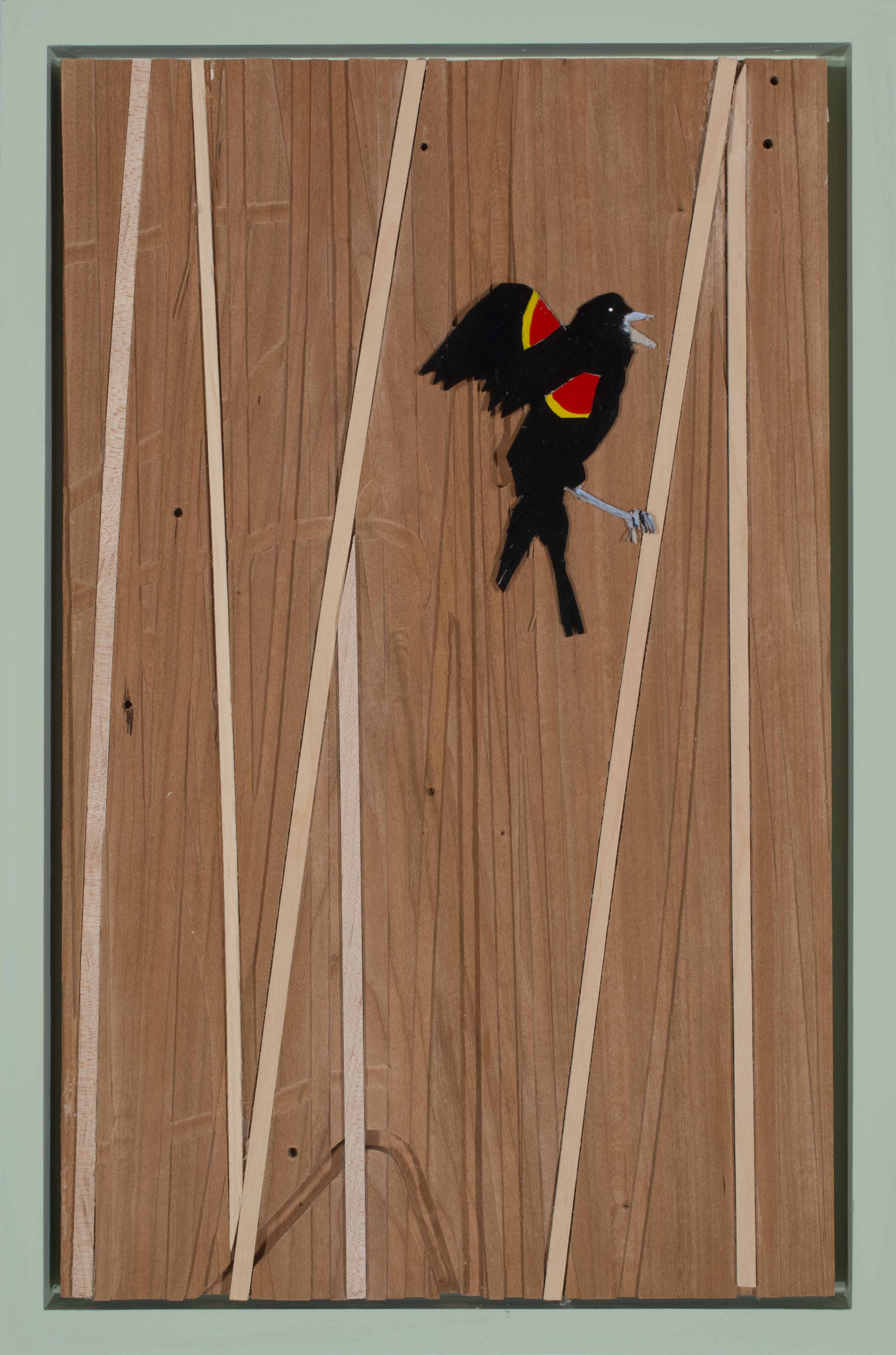 Red-winged Black Bird in Reeds #3, 2018, acrylic and cardboard on wood, 18 x 12 inches