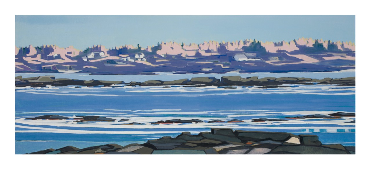 Jordan Farm from Eastern Cove, 9/28/19, 17:00, 43.529317, -70.309053, 2020, oil on canvas, 16 x 36 inches
