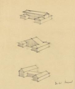EPM Untitled 3 Perspectives, 1961, graphite on tracing paper, 14 x 14 inches
