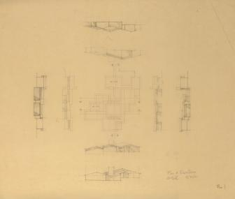 GSR Plan & Elevations Pre 1, 1961, graphite on tracing paper, 21 x  24 inches