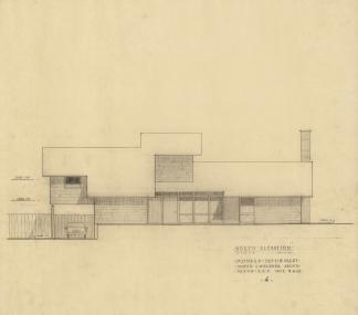 EPM Preliminaries 4 North Elevation, 1963, graphite on tracing paper, 22 x 25 inches