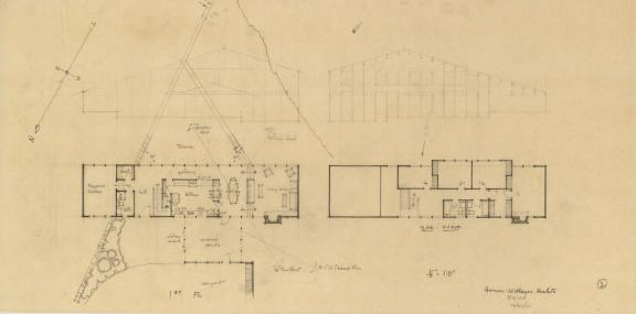EPM Site and Floor Plans with Elevations, 1961, graphite on tracing paper, 14 x 28 inches