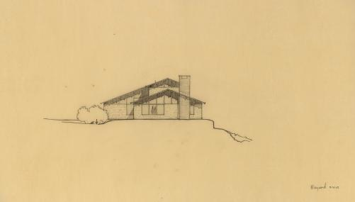 EPM Untitled West Elevation, 1963, graphite on tracing paper, 14 x 24 inches