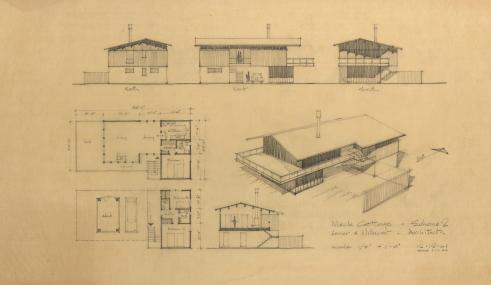Meck Cottage Scheme 2, 1961-62, graphite on tracing paper, 18 x 28 inches