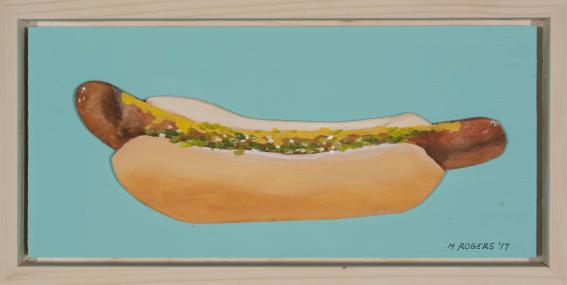 Hot Dog, 2019, acrylic on wood, 14 x 17 inches