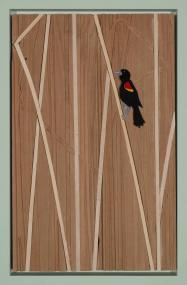 Red-winged Black Bird in Reeds #1, 2018, acrylic and cardboard on wood, 18 x 12 inches